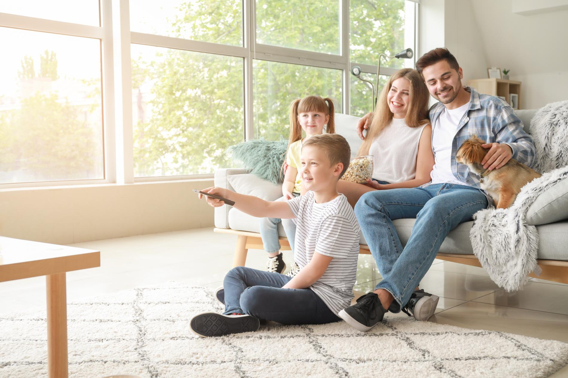 family in lounge