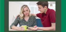 teenage carer giving pills to mother